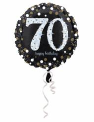 Balão alumínio Happy Birthday cintilante 70 anos