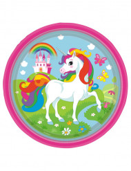 8 Pratos de cartão Unicórnio arco-íris