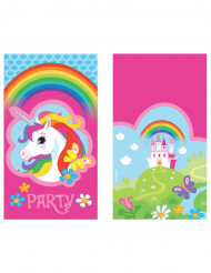 8 Convites e envelopes Unicórnio arco-íris