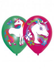 6 Balões látex Unicórnio 2 cores