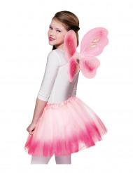 Asas e tutu cor-de-rosa borboleta menina
