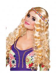 peruca loira ondulada e comprida mulher hippie