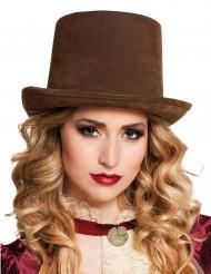 Chapéu alto castanho Steampunk adulto