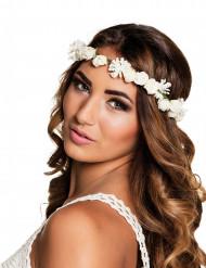 Coroa com flores brancas adulto