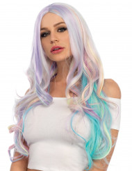 Peruca luxo wavy colorida unicórnio mulher