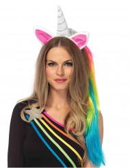 Bandolete unicórnio com véu colorido