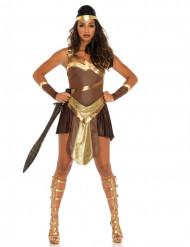 Disfarce guerreira gladiadora dourada mulher
