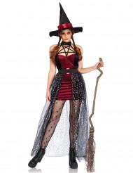 Disfarce bruxa divina com véu amovível mulher Halloween