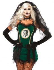 Disfarce noiva do monstro verde mulher Halloween