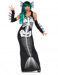 Disfarce sereia esqueleto mulher Halloween