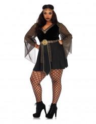 Disfarce gladiadora preto sexy mulher