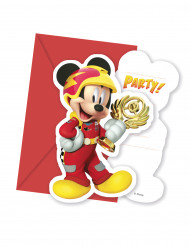 6 Convites e 6 Envelopes Mickey & Donald Racing™