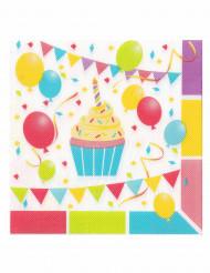 12 guardanapos em papel balões de aniversário 33 x 33 cm