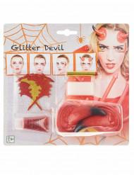 Kit de maquilhagem demónio mulher Halloween