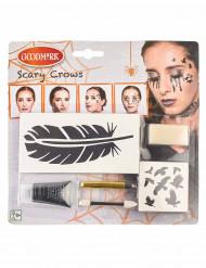 Kit de maquilhagem corvo mulher Halloween