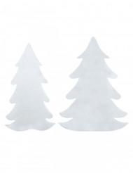 6 Pinheiros de feltro branco Natal
