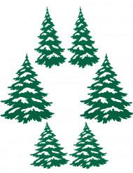 6 Pinheiros adesivos verdes Natal
