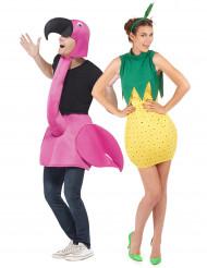 Disfarce de casal flamingo e ananás