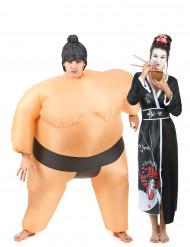 Disfarce de casal lutador de sumo e gueixa