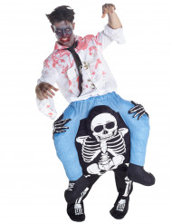 Disfarce homem as costas de um esqueleto adulto Halloween