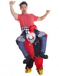Disfarce de homem aos ombros de um esqueleto de arlequim adulto Halloween