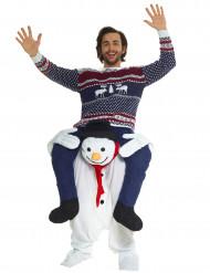 Disfarce homem as costas de um boneco de neve adulto Natal