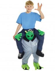 Disfarce criança às costas de um alien
