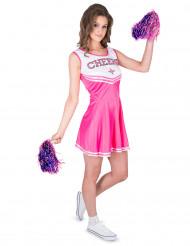Disfarce pompom girl cor-de-rosa CHEERS mulher