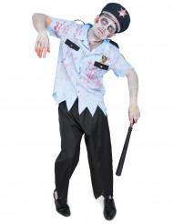 Disfarce policia zombie homem Halloween