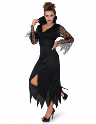 Disfarce bruxa renda preta mulher