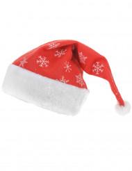Gorro vermelho com flocos cintilantes adulto Natal