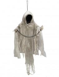 Decoração para pendurar esqueleto acorrentado luminoso Halloween