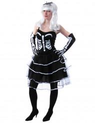Disfarce de princesa esqueleto mulher Halloween
