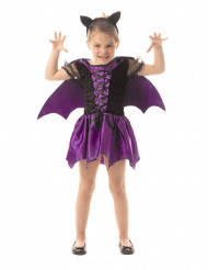 Disfarce morcego lilás menina Halloween