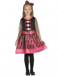 Disfarce esqueleto cor-de-rosa menina Halloween