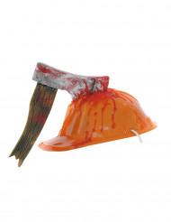 Capacete de obra com machado ensanguentado adulto Halloween