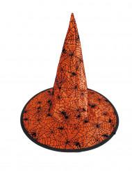 Chapéu de bruxa teia de aranha cor de laranja criança Halloween
