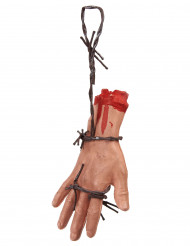 Mão sangrenta sobre arame farpado Halloween