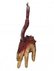 Mão sangrenta sobre gancho Halloween