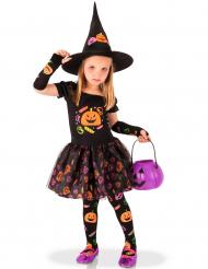Disfarce bruxa abóbora menina