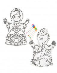 2 marionetas a colorir laváveis 6 marcadores