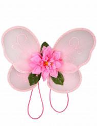 Asas cor-de-rosa fada menina