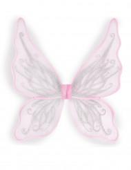 Asas de borboleta cor-de-rosa com brilhantes prateados menina