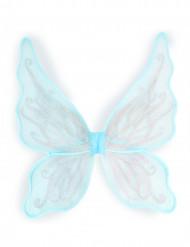 Asas de borboleta azuis com brilhantes prateados menina