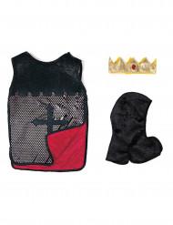 Túnica reversível luxo cavaleiro vermelho menino