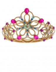 Coroa princesa dourada e colorida menina