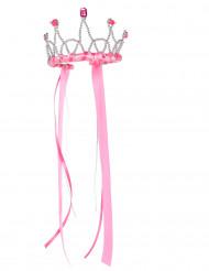 Coroa de rainha medieval cor-de-rosa menina