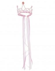 Coroa rainha medieval cor-de-rosa menina