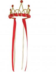 Coroa rainha medieval vermelha menina