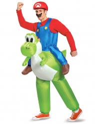 Disfarce insuflável Mario as costas de Yoshi Nintendo® adulto